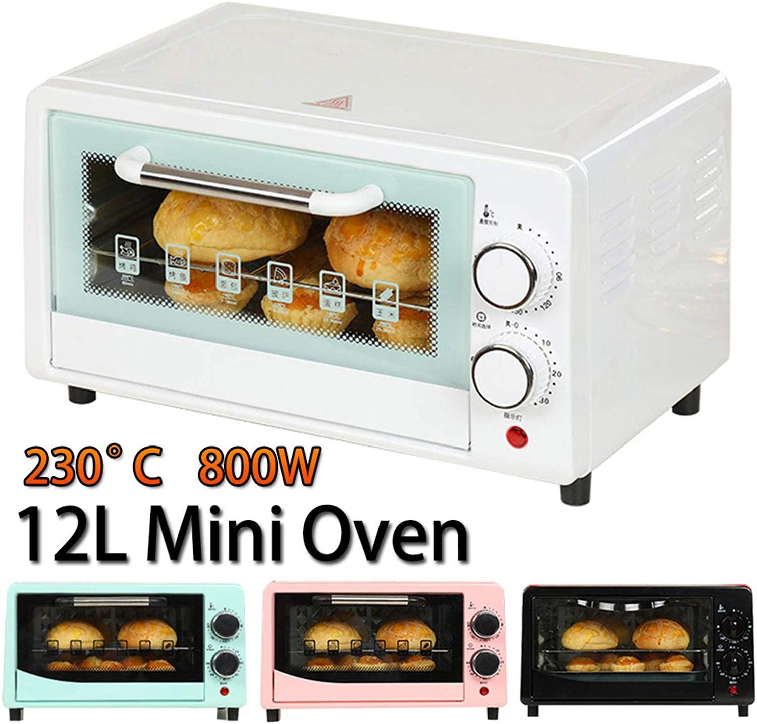Countertop Toaster Oven Thawing Mini Oven 12L 0-230/°C 800W Toaster Ovens For Grilling Mini Oven With Baking Tray Timer Baking