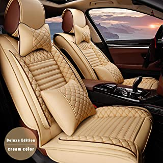 for BMW Mini Universal 5-Seats Car Seat Covers PU Leather Waterproof Seats Cushion All Season Fit Most Car, Truck, SUV, or Van Front Seat+Rear Seat 9Pcs Luxury Edition Beige