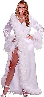 Vintage Hollywood Marabou Satin Robe, White, Standard