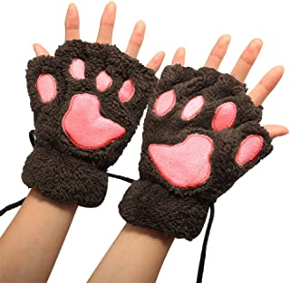 Women Bear Plush Cat Paw Claw Glove Soft Winter Gloves