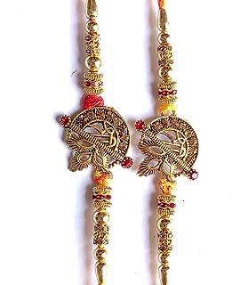 Set of 2 Rakhi Designer Handicrafted Rakhi Sets for Brother Bhaiya Bhai and Bhabhi for Raksha Bandhan Indian Bracelet Bead...