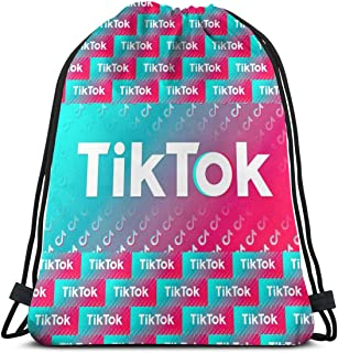 DKX Tik-Tok Makeup Bag Cool Stylish Reusable Drawstring Beach Bags for Women