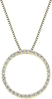 Best diamond circle necklace yellow gold Reviews