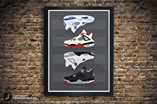 Air Jordan IV (4) Collection Vintage Kicks Sneaker Wall Art Illustration in Various Sizes