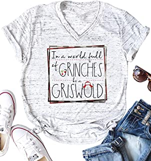 LANMERTREE Womens Short Sleeve V Neck Casual T Shirt Funny Christmas Tshirts in A World Full of Grinches Be A Griswold Tee Tops