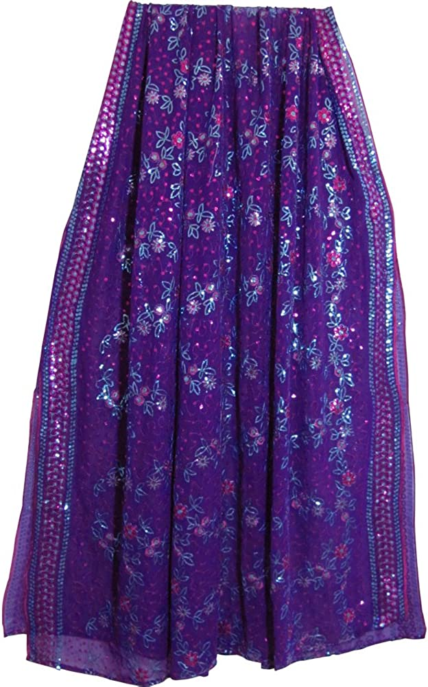 Purple Shimmering Regular store Embroidered Georgette At the price Sca Fabric Sari Sequined