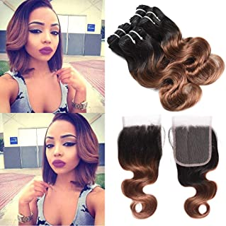 XCCOCO Hair Peruvian Ombre Hair Bundles with Closure Grade 10A 4 Bundles Ombre Short Bob Body Wave Hair with Lace Closure 100% Human Hair Weave T1b/30,50g/bundle(10 10 10 10+10inch Clsoure)