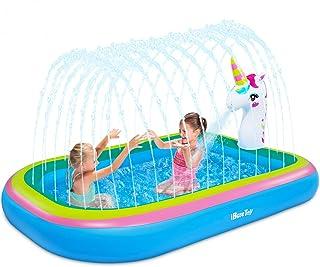 "iBaseToy Splash Pad Sprinkler Pool for Kids Toddlers - 68"" Unicorn Sprinkler Splash Mat, Inflatable Kiddie Baby Swimming W..."