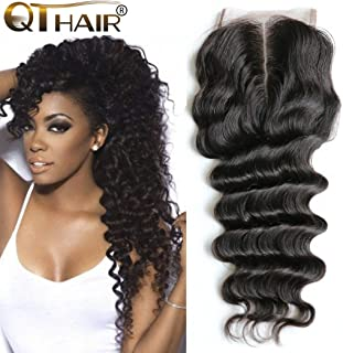 QTHAIR 12A Grade 130% Density Peruvian Loose Deep Wave Lace Closure (14 Inch) 100% Virgin Human Hair Middle Part Lace Closure Bleached Knots