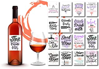 Party Wine Glass Stickers - Wine Markers Funny - 16 Removable Stickers for Wine Tasting Party