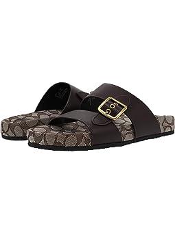 COACH Buckle Sandal,Oxblood Leather