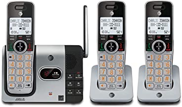 AT&T CL82314 DECT 6.0 Expandable Cordless Phone with Answering System and Caller ID, Silver/Black with 3 Handsets