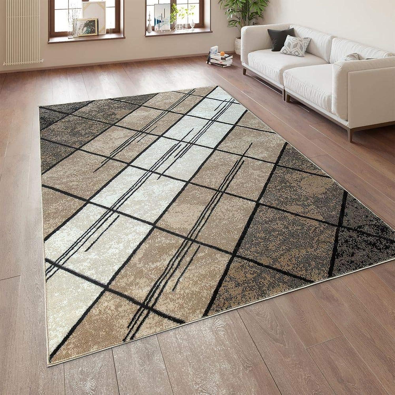 Paco Home Designer Wohnzimmer Teppich Modern Kurzflor Geometrische Muster Braun Beige Creme, Grsse 200x280 cm