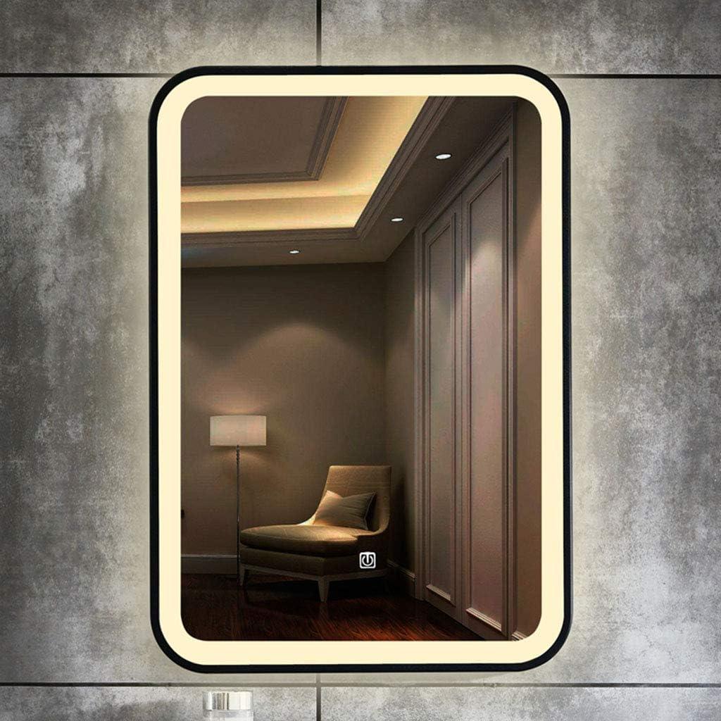 L/&ED LED Illuminated Bathroom Mirror Anti-fog black Frame Decorative Vanity Mirror Two-color Light 500x700mm