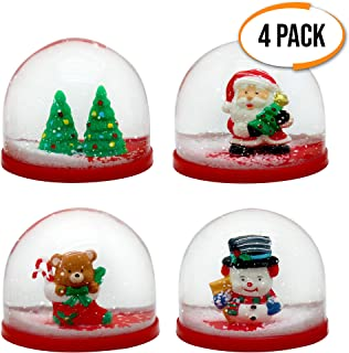 THE TWIDDLERS 4 Mini Christmas Winter Snow Globes | 4 Assorted Christmas Designs | Mini Snow Globe Decoration | Christmas Tree with Snow | Chirstmas Snow Globe Gift