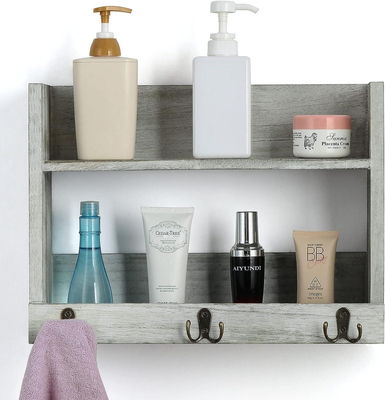 LIANTRAL Philadelphia Mall Bathroom Shelf with Towel Super sale period limited Rack Wall and Organize Hooks
