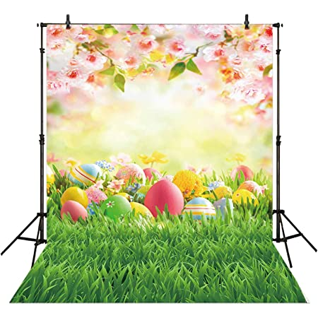SZZWY Gladbuy Happy Easter Backdrop 7X5FT Vinyl Frohe Ostern Backdrops Multicolor Eggs Hunt Bokeh Sequins Spring Jesus Christ Photography Background for Boys Girls Party Photo Studio Props QB209