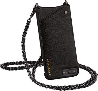 Bandolier [Lucy] Crossbody Phone Case and Wallet - Compatible with iPhone 8 Plus, 7 Plus, 6 Plus, 6s Plus - Black Leather with Pewter Accent