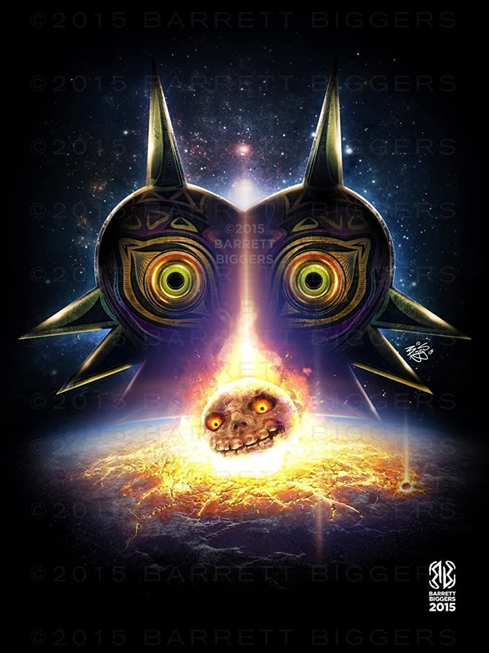 Legend of Zelda Game Inspired Majora's Mask Moon Fall Game Movie Poster Archival Giclèe Print
