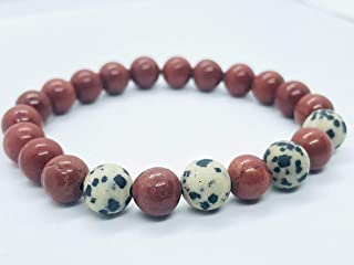 Red Jasper with Dalmatian Jasper 8mm beaded bracelet for calming and well being
