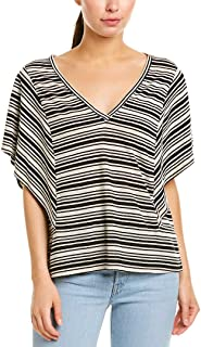 BCBG Max Azria Women's Linen Blend Flutter Sleeve V-Neck Pullover Top