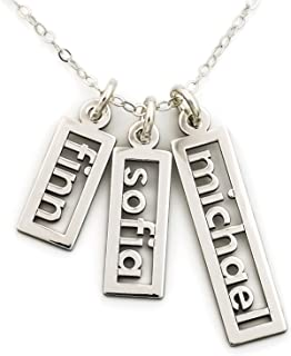 Personalized Necklace Open Triple Name Sterling Silver or 14k Gold Plate over Sterling Silver