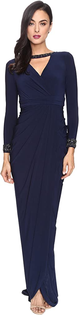 Adrianna Papell - Long Sleeve Deep V-Neck Wrap Front Jersey Dress with Wrap Skirt