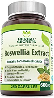 Herbal Secrets Boswellia Serrata Extract (65% Boswellic Acids) 600 mg - Non Synthetic (Pack of 1-250 Capsules)
