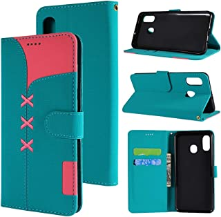 SHUHAN Mobile Phone Case for Galaxy Fabric Stitching Embroidery Horizontal Flip Leather Case With Holder & Card Slots & Wallet for Galaxy A20(Red) (Color : Light Blue)