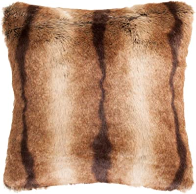 """Safavieh Collection Faux Luxe Brick 20"""" Throw Pillow, Chocolate"""