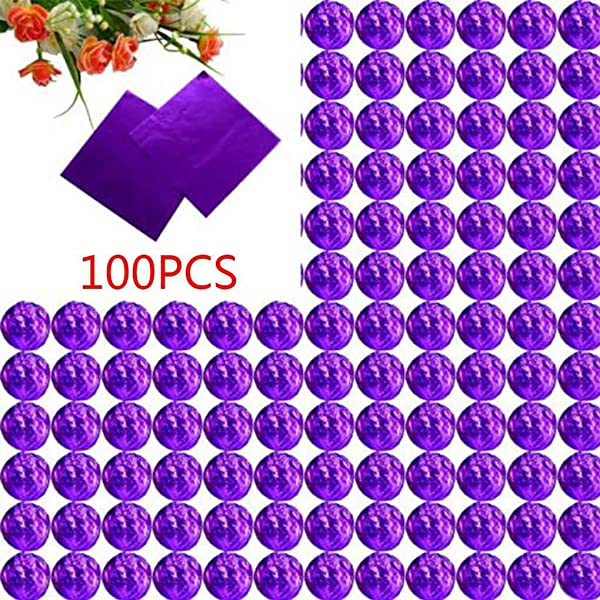MuLuo 100pcs Square Aluminum Foil Wrappers Colorful Package For Sweets Candy Chocolate Lollipops