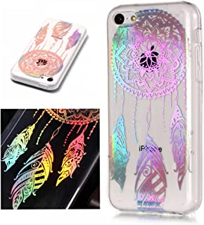 For iphone 5C Case Clear Silicone Phone Cover and Screen Protector, OYIME Creative Plating Design with Bright Pattern Skin Ultra Thin Slim Soft Silicone Rubber Glitter Brilliant Transparent Protective Back Cover Anti-Scratch Drop Protection Shockproof Bumper Cases - Dream Catcher