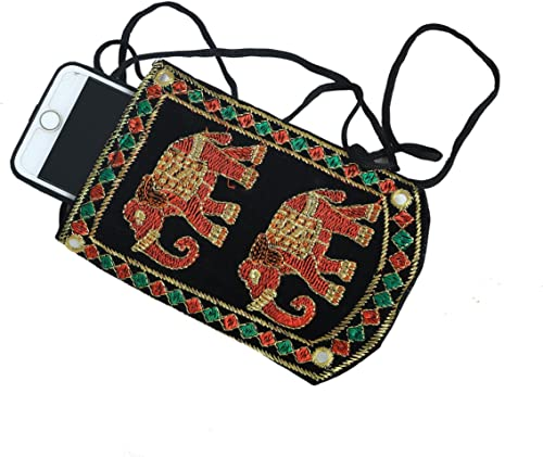 Designer Embroided Mobile Phone Pouch Cover With Purse Pocket And Sari Hook For Women