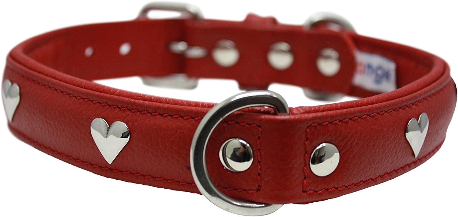 Angel Pet Supplies 41392 Leather Hearts  Dog Collar, 20 x1 , Valentine Red