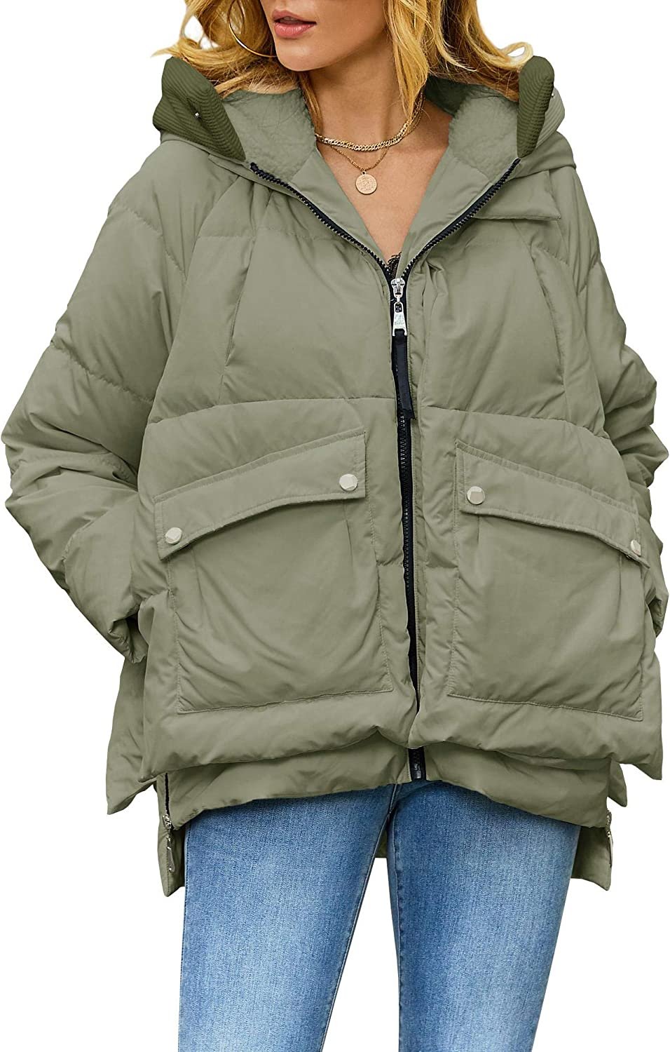 Ybenlow Womens Thickened Hooded Down Jacket Zip Up Puffer Parka Jackets Coat Winter Outwear Multiple Pockets