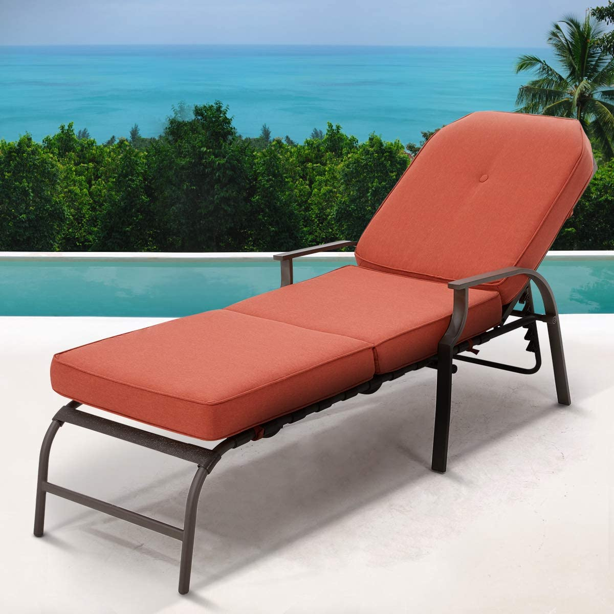 U-MAX At the price of surprise Adjustable Outdoor Chaise Lounge Patio Chair Super sale period limited