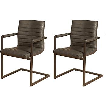 SAM® 2er Set Esszimmerstuhl Kunstleder anthrazit Parzivo, Stuhl mit Armlehnen, Schwingstuhl mit Eisen Fuß
