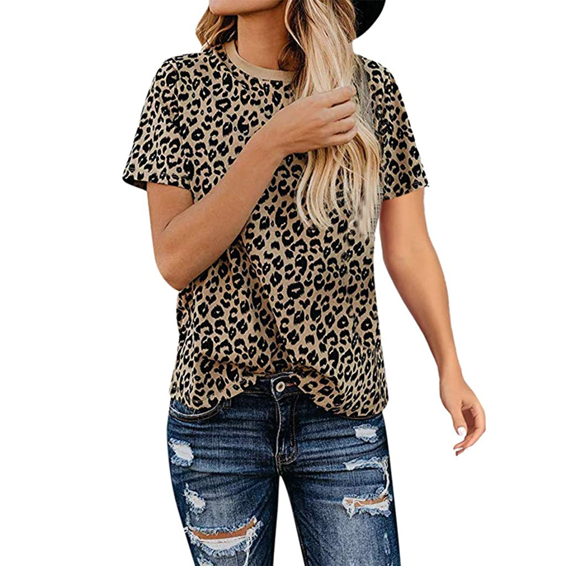 Yucode Women Leopard O-Neck Short Sleeve Tops Fashion Casual Loose Blouse Summer T-Shirt