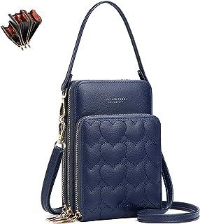 unisoul Damen Handtaschen, Fashion Leder Handy Umhängetasche Kleine Cross-Body Schultertasche für Reise/Konzert, 3 Reißver...