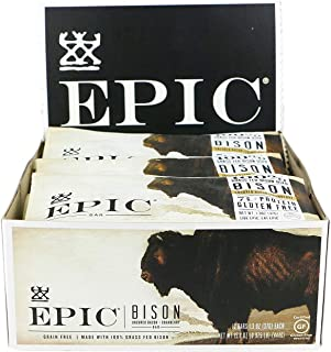 EPIC Bison Bacon Cranberry Bars, Grass-Fed, 12 Count Box 1.3oz bars