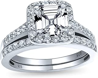 Art Deco Stile 2CT Square Solitaire Asscher Cut AAA CZ Halo Engagement Pave Wedding Band Ring Set 925 Sterling Silver