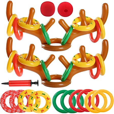 Hicarer 16 Pieces Christmas Inflatable Reindeer Antler Hat Christmas Inflate Toss Toy Antler Game Set with Pump for Christmas Party Supplies Adorable Style