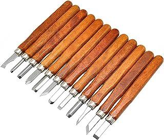 Eleoption Juego de 12 herramientas para tallar madera de acero SK2. Juego de Cuchillos para Tallar, Hechos a Mano, Escultura, Bricolaje, Manejar Wera, Tallado de Cerámica y Madera Para Principiantes