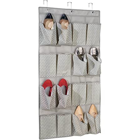 mDesign étagère suspendue en tissu avec 16 poches pour le rangement – rangement suspendu parfaite pour les chaussures – sac de rangement suspendu pour les accessoires – couleur : taupe/naure