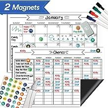 "Magnetic Whiteboard Chore Chart & Reusable Dry Erase Calendar Set – for Kids, Teens, Adults - Reward Behavior Chart - Kids Responsibility Magnets & Refrigerator Reward Set – 11"" x 17"""