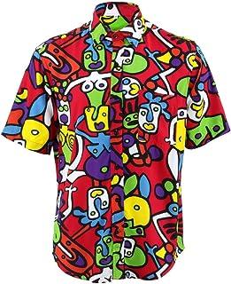 Mens Loud Shirt Retro Psychedelic Party Block Print REGULAR Red Stars