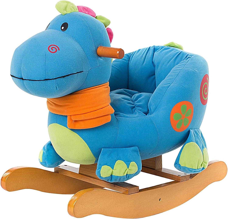 autentico en linea HONNIEKIS HONNIEKIS HONNIEKIS Caballo Mecedora para Niños - Dinosaurio Azul, de Madera con Relleno de Tela, Juegos Infantiles de mecedoras  en venta en línea