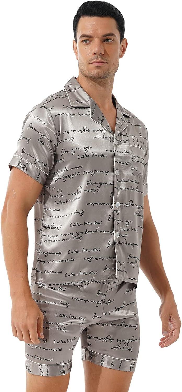 Hedmy Mens Silk Satin Pajamas Set Short Sleeve Shirt Tops and Lounge Shorts Sleepwear Loungewear