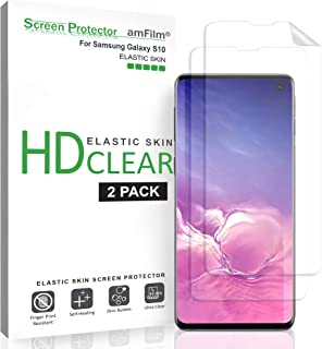 amFilm Screen Protector for Galaxy S10 (2 Pack), Flexible (Case Friendly) HD Clear Elastic TPU Film Screen Protector with Easy Installation Alignment Tool for Samsung Galaxy S10