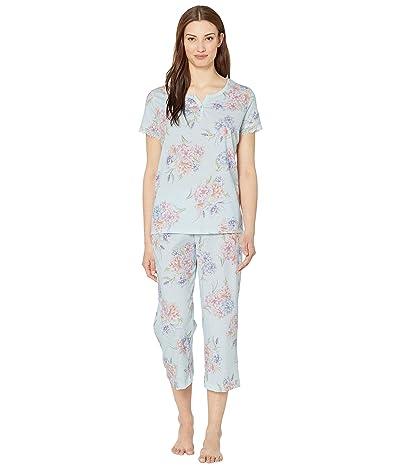 Karen Neuburger Island Breeze Short Sleeve Henley Capris PJ (Floral Wan Blue) Women